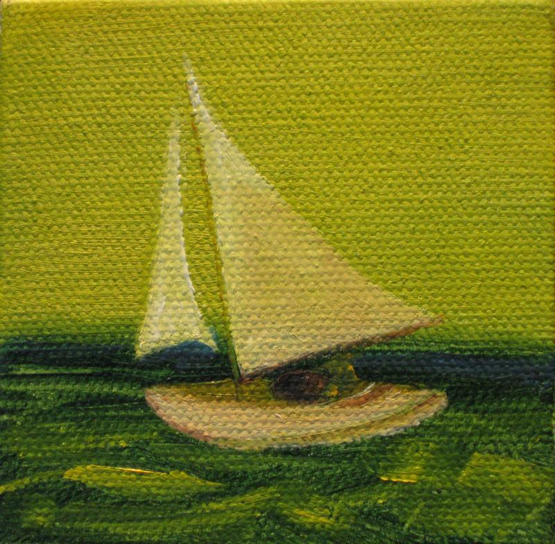 Sail 6, 3x3 oil on easil $45